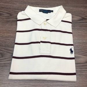 Polo Ralph Lauren White w/ Maroon Stripe Shirt L